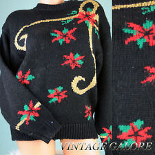 Vtg Black Christmas pull over knit ugly Hasting and Smith sweater top Sz M L