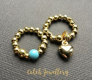 GOLD HEART and Turquoise Stretch Finger Thumb Stacking rings boho Bijoux