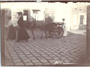 Trois jeunes femmes et leur attelage Vintage silver print Tirage argentique