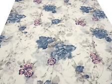 Stoff Baumwolle Voilé Blusenstoff Blumen Rosen wollweiß blau rosa Kleiderstoff