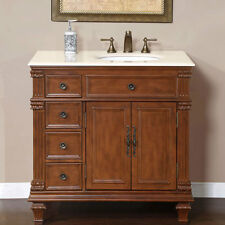 36-inch Marble Stone Countertop Right Sink Bathroom Single Vanity Cabinet 0210CM