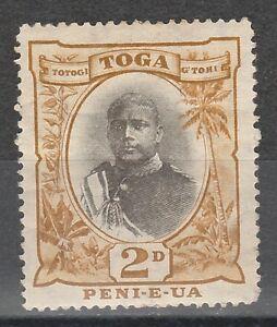 TONGA 1897 KING GEORGE II 2D GREY & BISTRE TYPE II WMK UPRIGHT