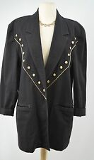 I.B. Diffusion 80s boyfriend blazer jacket light coat Gold trim oversized S VTG