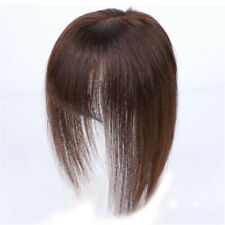 100% Real Human Hair Clip in Topper Hairpiece With 3D Flat Bangs Cover Grey Hair
