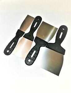 Set of 4 Stainless Steel Paint Scrapers Paint/Wallpaper/Filler 40 60 80 100mm