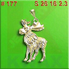 #177 Moose Alces  Deer Charm 925 Sterling Silver Necklace Pendant Jewelry