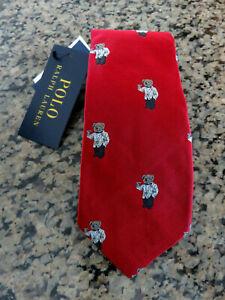 Polo RALPH LAUREN Tie Martini Bear Red Silk Narrow Necktie