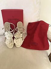 Valentino GARAVANI White/Cream Rosette Sandals Size 7 ½ US; 38 European