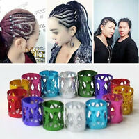 100 Gold 8mm Dreadlock Beads Adjustable Hair Braid Rings Cuff Clips Tube