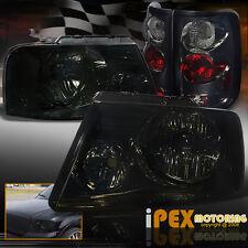 New For 2004-2008 Ford F150 F-150 BlackOut Smoke Headlights + Smoke Tail Lights