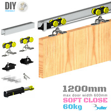 SOFT CLOSE Sliding Door Gear Track Kit System 1200mm track  (max 600mm 1 door)