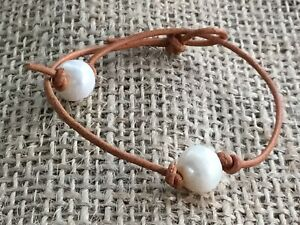 Leather Pearl Bracelet w/Gift, Real Pearl Bracelet, Birthday Gift, Gift For Her