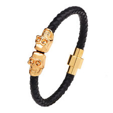Leather Bracelet Magnetic Clasp Skull Skeleton Men Jewelry Wrist Band Bangle