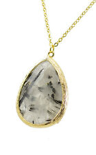 Black Tourmaline Hand Crafted Necklace Gold Plated Crystals 17 Inches