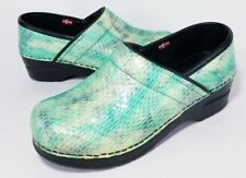 SANITA Womens 36 Green teal Patent Leather Snakeskin Professional Stapled Clogs