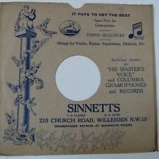 "10"" 78rpm gramophone record sleeve SINNETTS 215 Church Rd Willesden NW10"