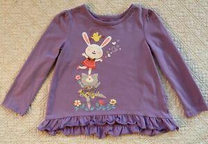 Mix & Match Brand Girls' 3T Long Sleeve Easter Shirt Purple w/ Bunny & Cat EUC