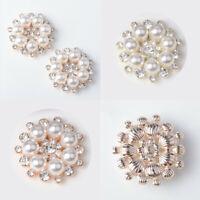 5pcs Flower Flatback Button Crystal Faux Rhinestone Embellishments Pearl