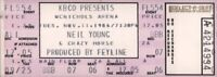 NEIL YOUNG 1986 LANDING ON WATER TOUR UNUSED McNICHOLS ARENA CONCERT TICKET