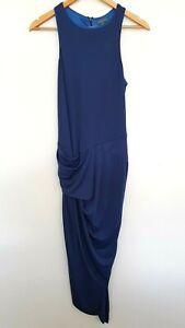 Sheike Women's Designer Blue Stretch sling gather side tank sheath maxi Dress 12