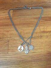 Three Chain, Three Charms, Silver Necklace Peace Sign