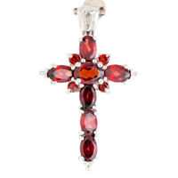 100% NATURAL+ 7X5MM GARNET CROSS DESIGN RARE GEMSTONE AAA++ SILVER 925 PENDANT