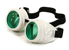 Steampunk Motorcycle Flying White Goggles Green Lens  Vintage Pilot Biker Goth