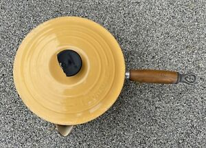 Le Creuset Yellow Pan with Lid and Teak Handle 20cm