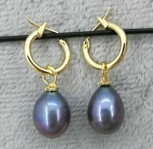 14K GOLD Natural 11X14 MM AAA PERFECT black south sea pearl earrings