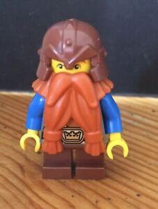 LEGO Dwarf Warrior w/ Dark Orange Beard Minifigure NEW Fantasy Era Castle