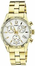 Timex Ameritus Chronograph White Dial Gold-tone Ladies Watch