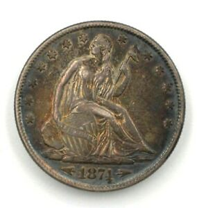 RARE! 1874 Arrows ~ Liberty Seated 50c ~ Gorgeous AU Almost UNC ~ GREAT Toning!!