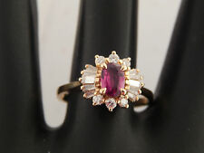 Pigeon Blood Red Ruby & Diamond Engagement Ring Halo 1.03 tcw (marked) E/VS 18k