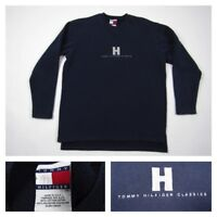 Vintage Tommy Hilfiger Mens Spell Out Pullover Small Blue Crewneck Sweatshirt