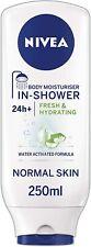 3 x Nivea Hydrating In Shower Body Moisturiser 250ml Each Normal Skin Aloe Vera