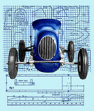 "Build a VINTAGE MODEL teather or convert to R/C CAR  20"" MIDGET RACER  F/S PLAN"