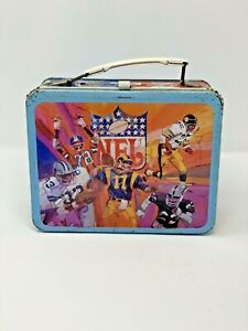 Vintage Metal 1978 NFL Lunch Box National and American Conference Helmets Themed
