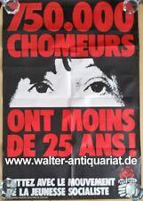 MJS Mouvement de la Jeunesse Socialiste affiche Plakat Chomeurs ca.1978 Original