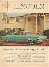 1950s Classic Car AD  LINCOLN Premier Coupe Turquoise and White 022016