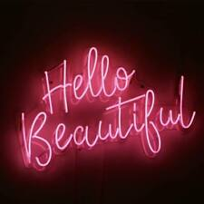 """Hello Beautiful Neon Sign Light Acrylic 20""""x12"""" Bedroom Bar With Dimmer"""