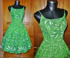 Vtg 50s HAWAIIAN COVER GIRL MIAMI Hawaii Print Cotton Pinup Full Skirt DRESS