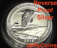 2018 S REVERSE Block Island National Seashore 90% Silver Proof Park Quarter ATB