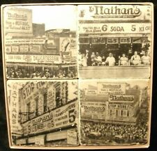 Nathan's Famous-Marble Stone Coasters w/Cork Backing-Brand New-Free Shipping
