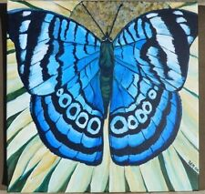 "Blue Butterfly on Daisy Hand-painted Original 16"" Acrylic Canvas RAMfish Artist"
