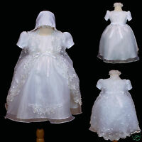 BABY Toddler GIRL CHRISTENING BAPTISM Church DRESS Gown SIZE 0 1 2 3 4 (0-18M)
