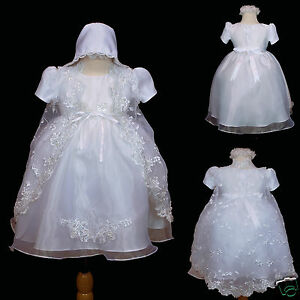 BABY Toddler GIRL CHRISTENING BAPTISM Church DRESS Gown new born to 30 months