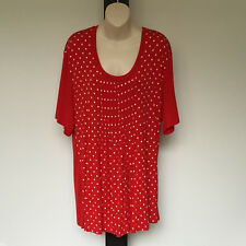 'MY SIZE' BNWT SIZE 'XS' (14) RED & WHITE  SHORT SLEEVE TOP WITH FRONT PLEATING