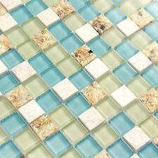 Wall Tiles White Stone Mosaic Tiles Glass  Blue Conch Sea Shell Borders (11PCS)