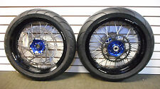 "SUPERMOTO 17"" WHEELS WITH TIRES DRZ 400 BLUE HUB BLACK RIM OVERSIZED ROTOR"