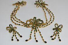 NEW Oscar de la Renta Set 2 Ps Green Bow Crystals Earring Clip On Collar Brooch